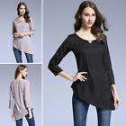 Women Blouse Nine Point Sleeve T Shirt Casual Loose Asymmetry Tops Ladies