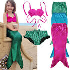 3PCS Girl Kids Mermaid Tail Swimmable Swimwear Swimsuit Girls Bikini Set 3-9yrs