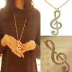 Fashion Women Crystal Music Note Rhythm Long Chain Sweater Necklace Pendant