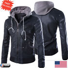 Mens Winter Warm Slim Motorcycle Jacket Leather Hooded Trench Coat Outwear Tops