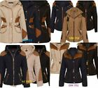 Women Warm Winter Puffa Fur Quilted Parka Lined Jacket Padded Coat Hooded Puffer