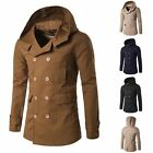 Fashion Men's Hooded Trench Coat Double Breasted Pea Coat Winter Jacket Overcoat