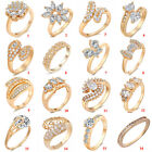 Lady jewelry 18K Rose Gold Filled Ring Crystal Engagement Wedding Bridal Diamond