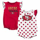 NWT NFL San Francisco 49ers Infant Girl's 2-Pack Polka Dot Creepers:12-24 months