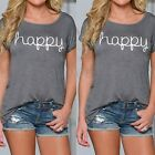 Ladies Summer Round Neck Short Sleeve Letter T-Shirt Casual Loose Blouse Tops