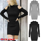 Women Cold Neck Off Shoulder Long Sleeve Sweater Jumper Knitted Bodycon Dress