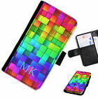 (INI97-T17) PERSONALISED RAINBOW BLOCKS INITIALS PU LEATHER PHONE CASE COVER