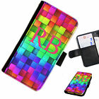 (INI97-T13) PERSONALISED RAINBOW BLOCKS INITIALS PU LEATHER PHONE CASE COVER