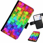 (INI97-T14) PERSONALISED RAINBOW BLOCKS INITIAL PU LEATHER PHONE CASE COVER