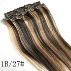 14*-30* 100% Clip In Real Human Hair Extensions Black Brown Blonde Highlight