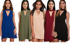 Womens Ladies Sleeveless Choker V Neck Cut out Shift Mini Dress Loose Fit Top