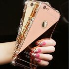 New 9H Glass film + Bling 3D Metal Mirror Bumper Cover for iphone Samsung model