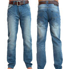 Crosshatch Mens New Farrow Light Wash Regular Faded Blue Denim Jeans With Belt