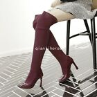 Womens Color Stitching Pull On Over The Knee Boots Roman Riding Shoes High Heels