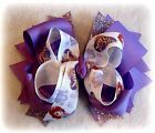 Sofia the First Boutique Hair Bow 3 layers of Loops Spikes Funky Hairbow Purple