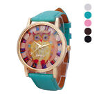 Fashion Women Geneva Owl Watch Lady Leather Band Analog Quartz Wrist Watch
