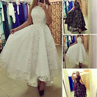 Womens Lace Hollow Crochet Floral Evening Cocktail Party Irregular Prom Dress