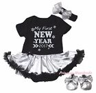 MY First New Year 2017 Black Bodysuit Silver Gray Girls Baby Dress Shoes NB-18M