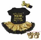 My First New Year 2017 Black Bodysuit Gold Bling Sequins Baby Dress Shoes NB-18M
