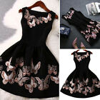 Vintage Womens Casual Butterfly Swing Evening Party Cocktail Mini Prom Dress New