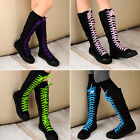 Women's New Canvas Side Zipper Boots Mid-Calf Flats Skateboard Lace Up Shoes