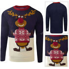 Adults Festive Novelty Christmas Jumper Thumbs Up 3D Reindeer Crew Neck Pullover