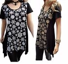 Ladies womans plus size 16 to 34 UK snowflake christmas party hanky hem top.