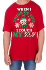 Adults Novelty Elf Print T-Shirt Christmas Explicit Festive Funny Rude Top