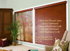 """2"""" FAUXWOOD BLINDS 92"""" WIDE x 24"""" to 36"""" LENGTHS - 4 GREAT WOOD COLORS!"""