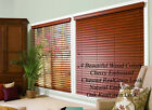 "2"" FAUXWOOD BLINDS 46"" WIDE x 24"" to 36"" LENGTHS - 4 GREAT WOOD COLORS!"