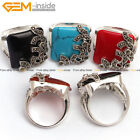 Square Rectangle Stone Beads Rivet Beads Silver Plated Ring #7-#9 Send by Random