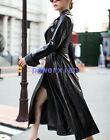 Womens Lady Long leather Coat Winter fashion long Trench coats Jackets SZ 2XL
