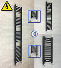 300mm wide Black Designer Electric Heated Towel Rail Radiator Straight Bathroom
