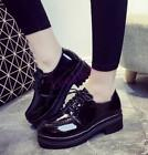 New Fashion Womens Casual  Patent Leather Platform Lace Up Flat Heels Shoes Size