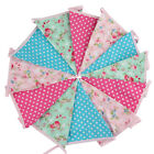 3.6M 12 Big flags Vintage Floral Fabric Wedding Bunting Party Show Decor Garland