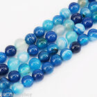 "15"" Strands Blue Striped Nature Agate Round Gemstone Loose Spacer Beads Stone"