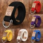 Mens Womens Canvas Belt Adjustable Double D Ring Buckle Webbed Military 19colors