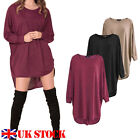 UK Ladies Oversized Knit Long Sleeve Batwing Dip Hem Baggy Ladies Top Plus Size