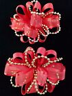 NEW Kids Girls Christmas Holiday Solid Red Gold Beads Fashion Hair Bow