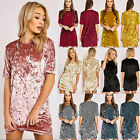 Womens Velvet Casual Tops T-shirt Loose Long Top Blouse Party Evening Mini Dress