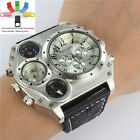 Casual Sports OULM Military Army Quartz Watch Leather Mens Wrist Watch + Gift