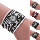 WOMEN MULTILAYER LEOPARD PATTERN FAUX LEATHER RHINESTONE BRACELET WATCH UNIQUE