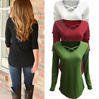 Fashion Women Casual Loose Long Sleeve Ladies Cotton T-Shirt Pullover Top Blouse