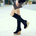 Wedge Heel Side Zipper Shoes Womens Knee High Boots Lace Up Suede Stylish Retro