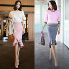 Korean Fashion Women's Faux Suede Ruffle Hem Asymmetric Mermaid Skirt-2 colors