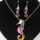 Gold Silver Hippocampus Ocean Horse Necklace Earrrings Jewelry Sets Party Gift