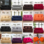 Solid Colors Poly / Plush 1 2 3 4 Seater Stretch Fitted Sofa Couch Slip Covers