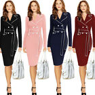 women's elegant long-sleeves office ladies work wear belt bodycon pencil dress