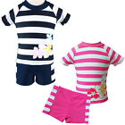 Kids Girls Pink Navy Stripe Sun Protective Swimsuit UV 50+ Surfing Swimwear 2-6Y
