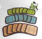 "BAMBOO COASTER SET OF 6 4.3"" X 4.3"" SOLID BLUE GREEN OR TAN TRIMMED IN BROWN NIP"